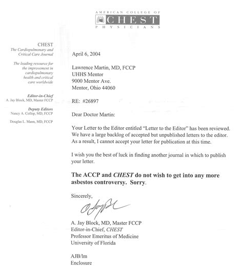 Appeal Letter To Journal Editor College Rejection Letter
