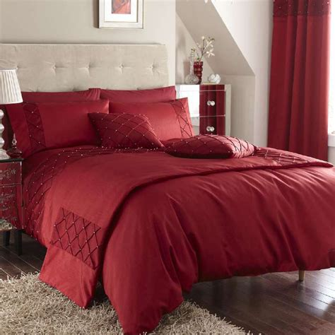 red bed catherine lansfield silk pearl red bedding set up to 60