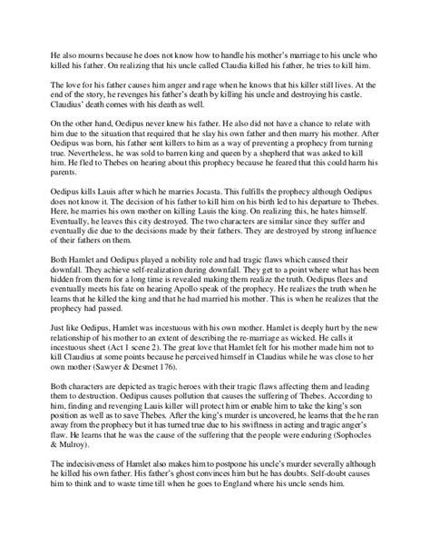 Oedipus Essays by Comparison Essay Between Oedipus And Hamlet