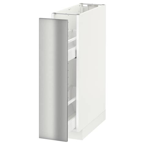 stainless steel kitchen cabinets ikea metod base cabinet pull out int fittings white grevsta