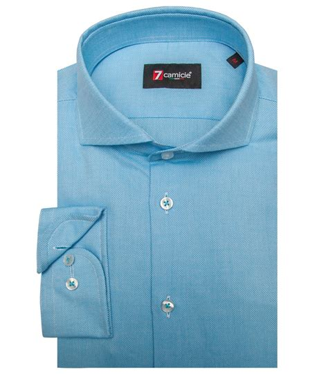 Shirt Button 1 shirt 1 button honeycomb fabric color turquoise