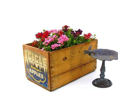 Wooden Crate Planters by Vintage Wooden Fruit Crate Flower Planter Icicle Apples