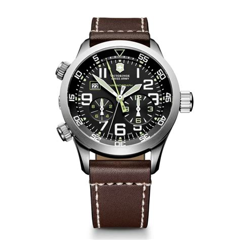 Swiss Army Topman Leather lyst victorinox mens chronograph airboss mach 3 brown
