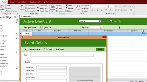 microsoft event templates microsoft access event list management templates database