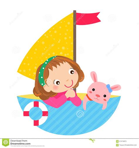 cartoon girl on boat cute little girl and boat stock vector image of fish