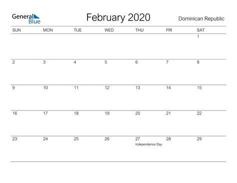 february  calendar dominican republic