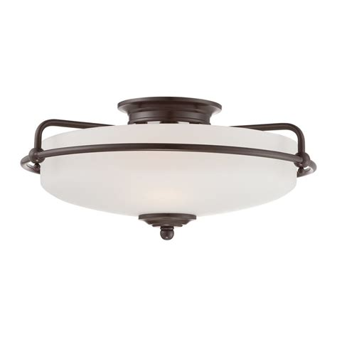 Quoizel Flush Mount Ceiling Light Shop Quoizel Griffin 17 In W Palladian Bronze Flush Mount Light At Lowes