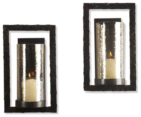 modern candle wall sconces pair tomar contemporary bronze rectangle wall sconce