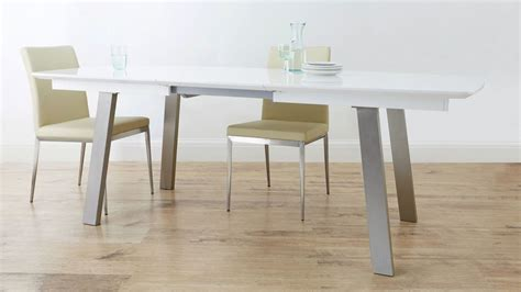 White Extending Dining Tables Extending White Gloss Dining Table Seats 8 Brushed Metal