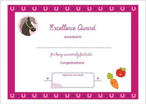 printable gift certificates with horses horse themed award certificate for girls free printable
