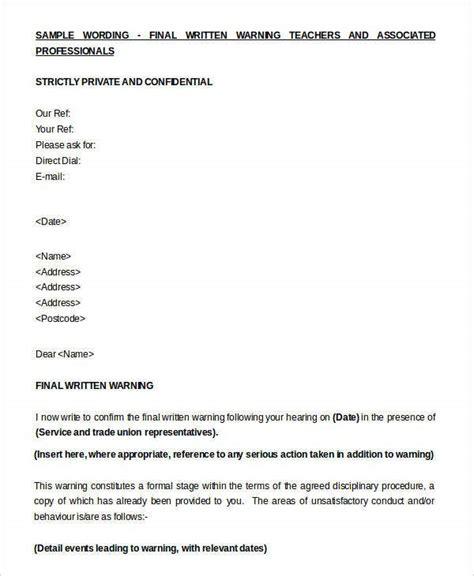informal warning letter template kanza