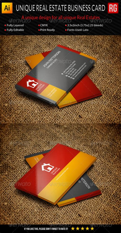 3 Stylish Real Estate Business Card Templates by Unique Real Estate Business Card Graphicriver