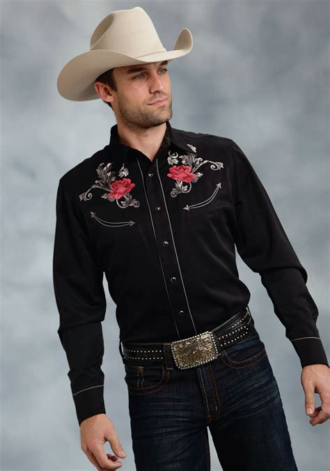 Wst 19697 Black Emrbroidered Shirt mens embroidered western shirt quot baroque quot a great west collection shirt in black with