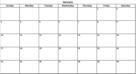 Blank 30 Day Calendar Free Calendar 2017 2018 30 Day Calendar Template
