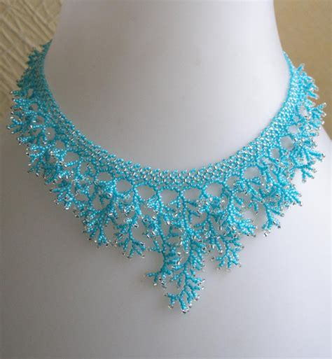 bead netting necklace pattern seed necklace detailed beading