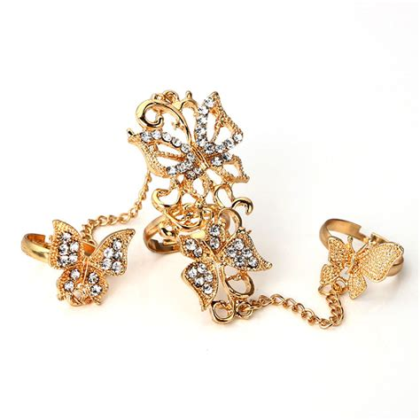 Rhinestone Silver Chain Ring 3pcs set rhinestone carved flower butterfly finger