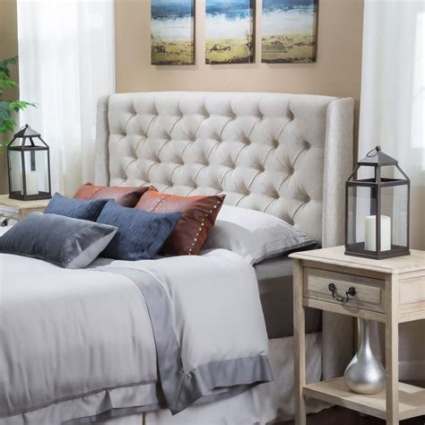 tufted headboard bedroom furniture size bed wingback beige