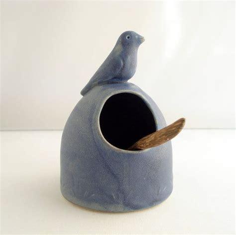 ceramic bird salt cellar ceramic salt cellar blue bird salt pig bird pottery and