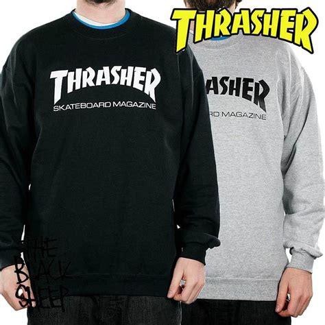 Sweater Skate Dc Original 1 thrasher magazine mag logo crewneck sweater grey and black