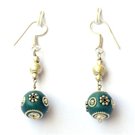 Handmade Ear Rings - handmade earrings blue with metal rings