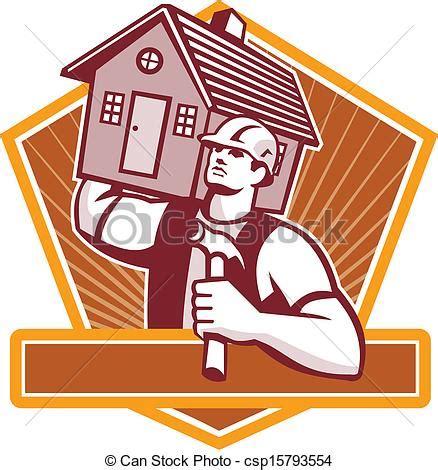 clipart vector of builder carpenter carry house retro