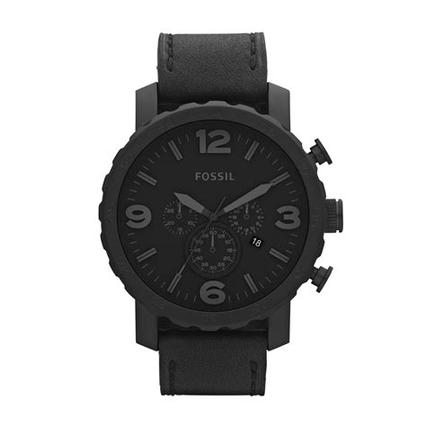 Fossil Chronograph fossil nate s chronograph black leather