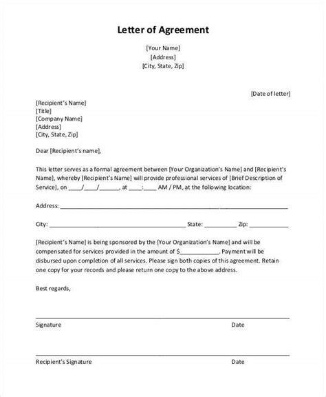 agreement letter template sample