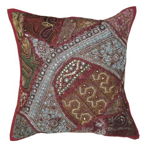 bead pillows 16x16 quot heavy bead works embroidery bed pillow