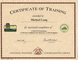 Nwcg Certificate Template by Nwcg Certificate Template Qualification