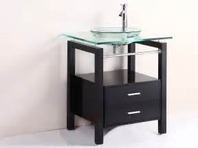 glass bathroom vanity 28 quot bathroom tempered clear glass vessel sink vanity