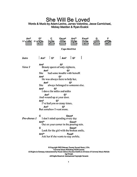 she will be loved guitar tutorial she will be loved sheet music by maroon 5 lyrics chords