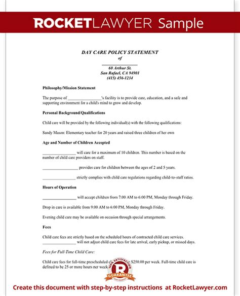 Day Care Policy Statement Form With Sle Child Care Policies And Procedures Template
