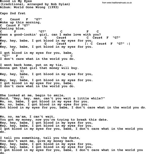 bob song blood in my lyrics and chords
