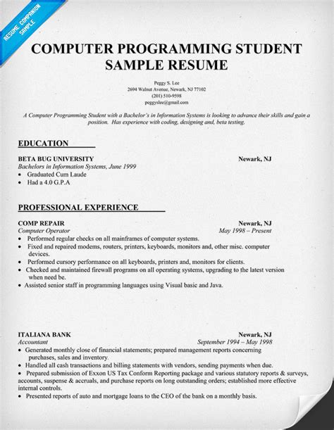 computer science student resume sle sle resume for internship in computer science