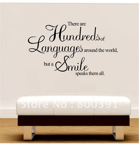 Decorative Quotes by Free Shipping 60 80cm Vinyl Wall Quotes A Smile Speaks
