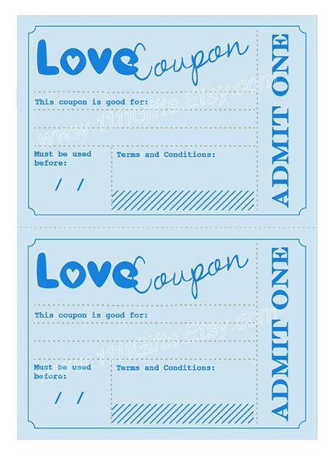 anniversary coupon template printable coupons gift idea for him