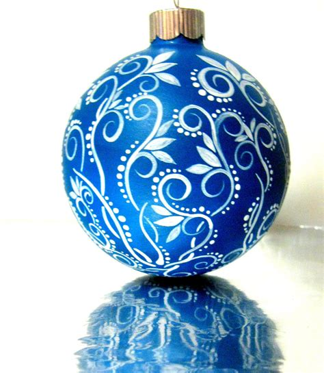 small blue and white ornament painted glass - White Blue Ornaments