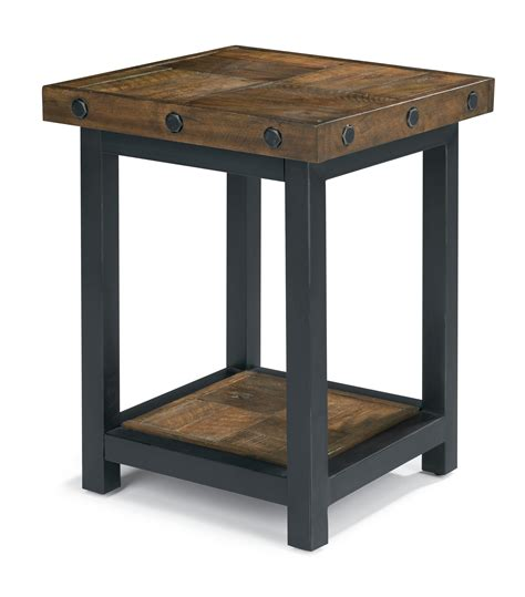 Recliner Side Table Flexsteel Carpenter Chair Side Table With Square Reclaimed Wood Top Dunk Bright Furniture