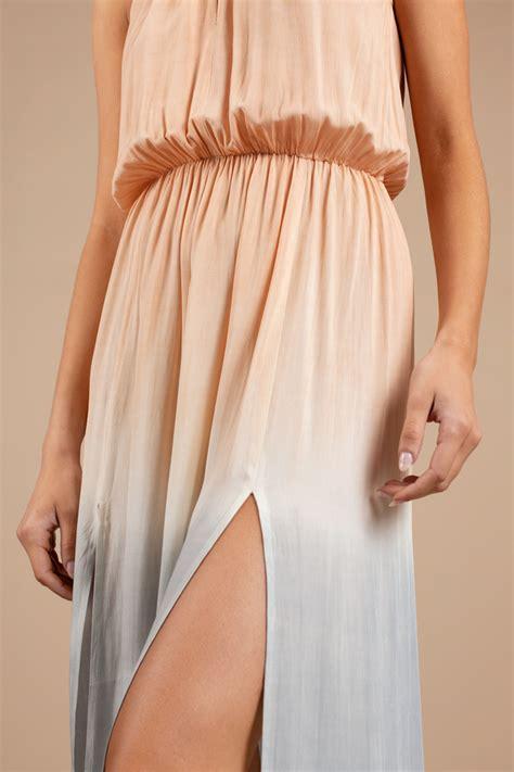 blush colored maxi dress multi colored maxi dress ombre dress multi