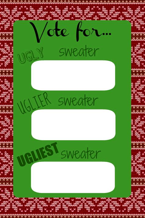 free ugly sweater printables sweater voting ballot just b cause