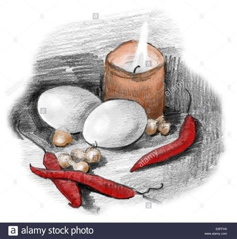 Original Candle Light Pepper eggs peppers crocus bulbs and candle light still pencil stock photo royalty free image