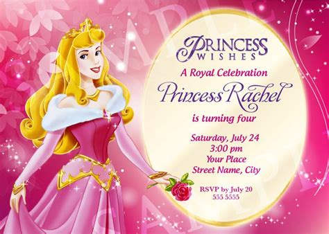 disney princess birthday card templates princess birthday invitation template