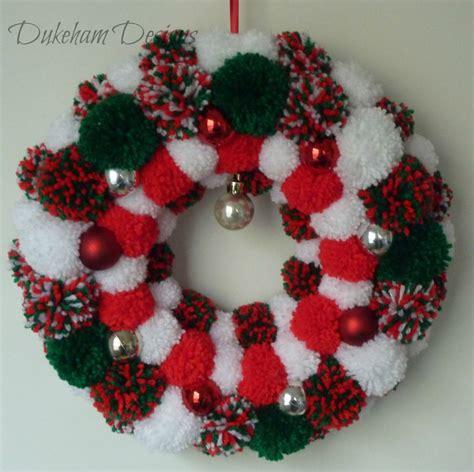 christmas pom pom wreath christmas wreath pompom wreath pom pom wreath pinned  pinetsy