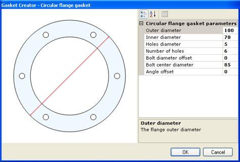 Outer Size cutecad 2d parametric gaskets