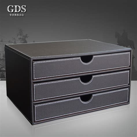Gardensun 3 Layer 3 Drawer Triple Wood Structure Leather Desk Drawer Paper Organizer