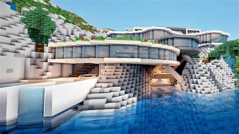 moderne sichtschutzzäune minecraft enorme maison moderne sur une falaise