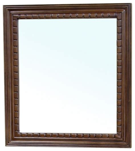 Wooden Framed Mirrors For Bathroom Rectangular Solid Wood Walnut Frame Mirror Traditional Wall Mirrors By Unique Vanities