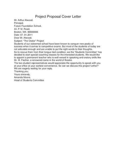 cover letter for project proposal exle drureport831