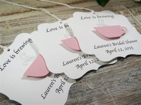 correct wording for bridal shower favor tag bridal shower favor tags is brewing wedding favor tags tea favor tags tea cup