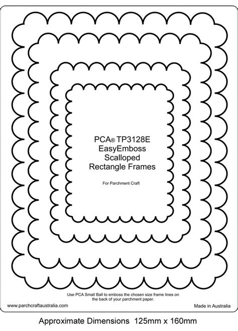 Photoshop Card Emboss Template by Pca Embossing Templates Frames And Corners Craft Supplies